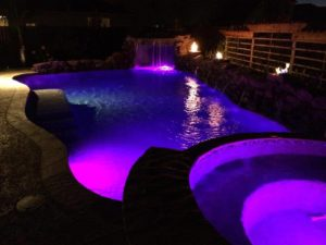 Katy Custom Pool at Night